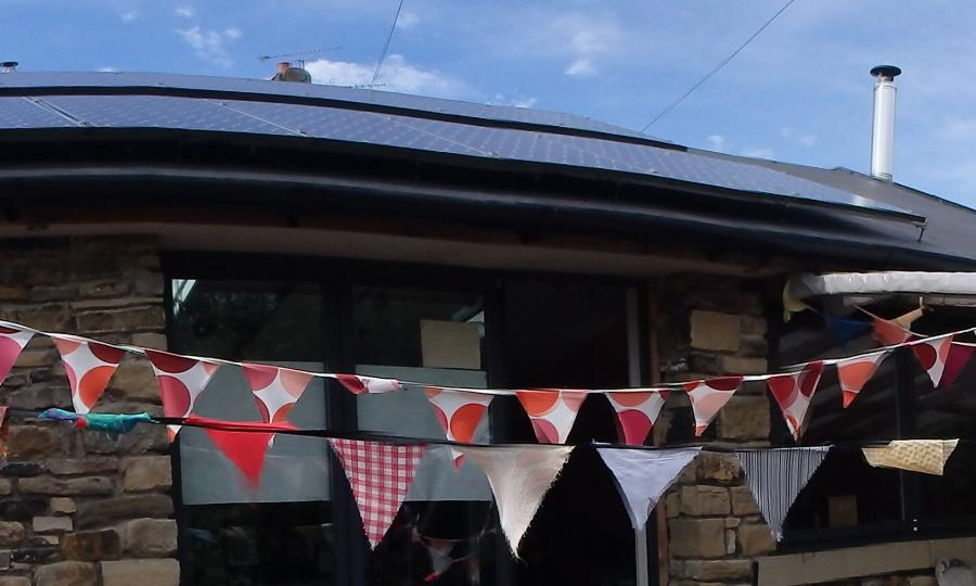 Bunting outside Cowshed
